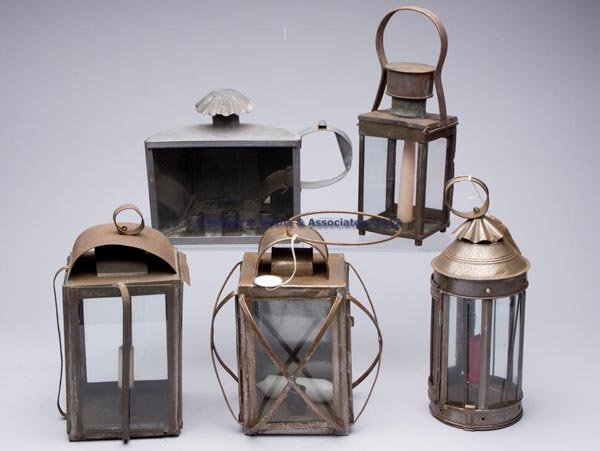 514: SHEET IRON CANDLE LANTERNS, LOT OF FIVE