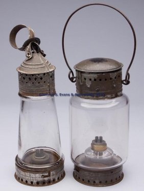 PUNCHED AND PIERCED SHEET IRON WHALE OIL LANTERNS,