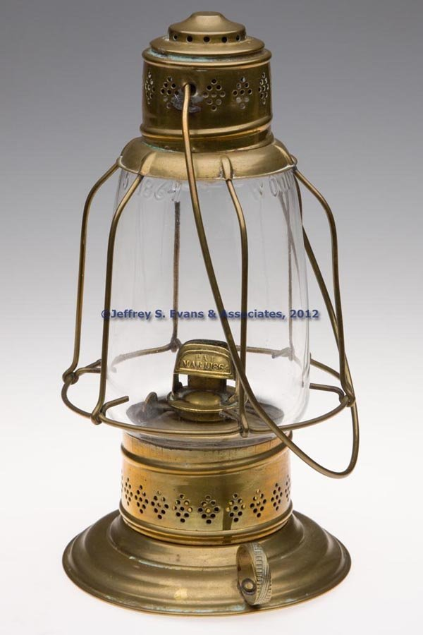 606: PIERCED BRASS LANTERN WITH WOODWARD'S GLOBE