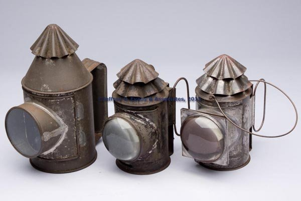 610: SHEET IRON WATCHMAN / POLICE LANTERNS, LOT OF THRE