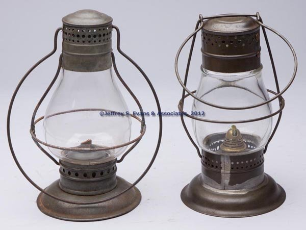 614: SHEET IRON OIL LANTERNS, LOT OF TWO