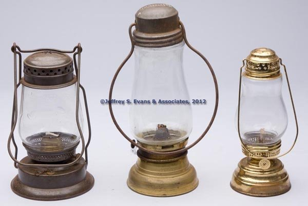 615: BRASS AND SHEET IRON KEROSENE LANTERNS, LOT OF THR