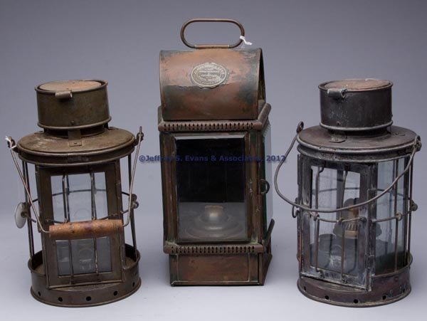 618: ENGLISH COPPER AND SHEET IRON KEROSENE LANTERNS, L