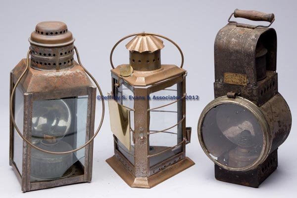619: SHEET IRON OIL LANTERNS, LOT OF THREE