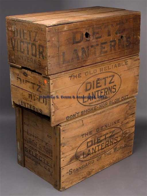 785 dietz lanterns wooden shipping crates lot of thre - Wooden Shipping Crates