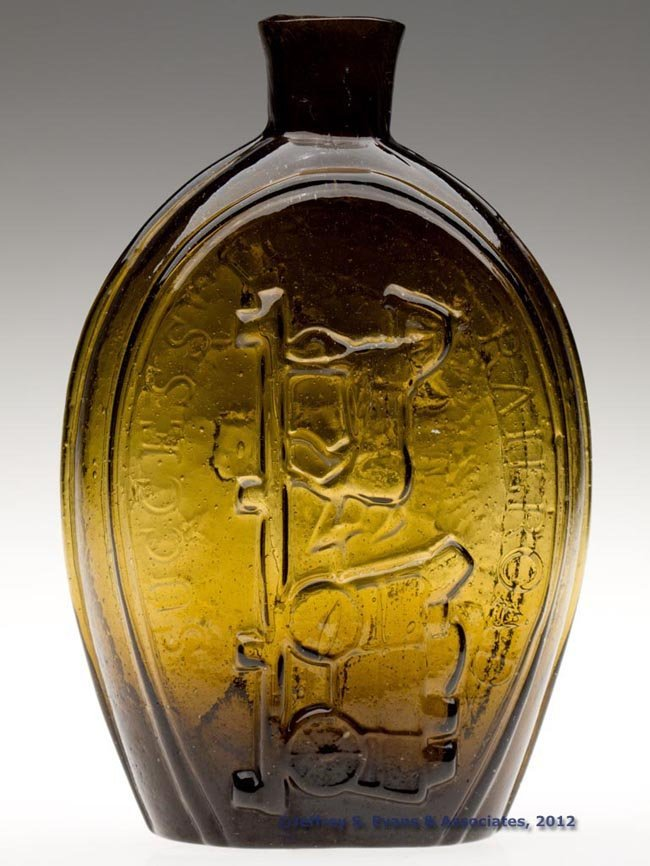13: GV-8 HORSE DRAWN CART - EAGLE PICTORIAL FLASK