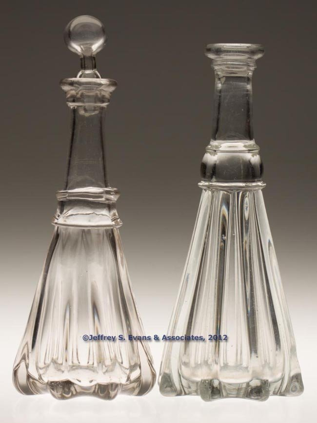 98: PILLAR-MOLDED PINT DECANTERS, LOT OF TWO