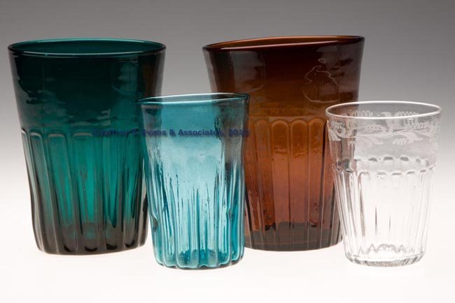 119: ASSORTED PATTERN-MOLDED TUMBLERS, LOT OF FOUR