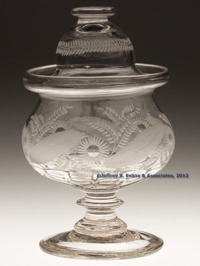 171: BAKEWELL PATTERN-MOLDED AND ENGRAVED SUGAR BOWL AN