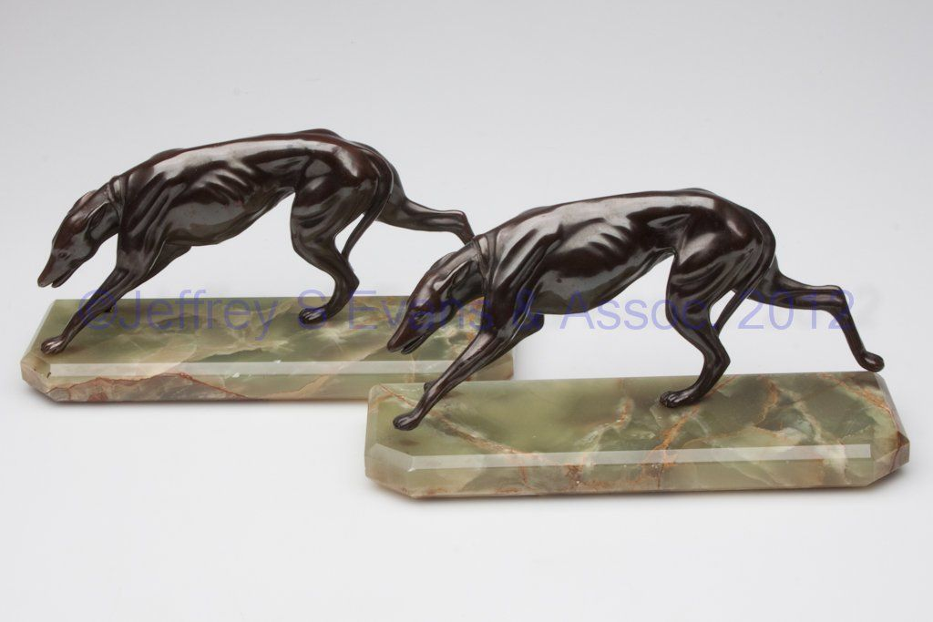 373: PAIR OF GREYHOUND FIGURAL BOOKENDS