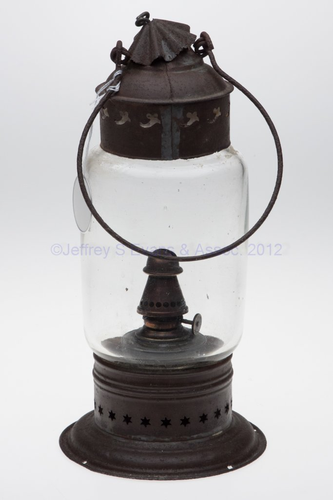 11: PIERCED SHEET IRON AND BLOWN MOLDED OIL LANTERN