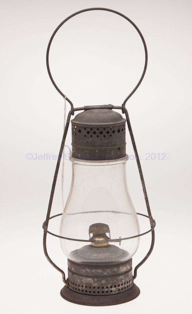 15: PIERCED SHEET IRON AND BLOWN MOLDED OIL LANTERN