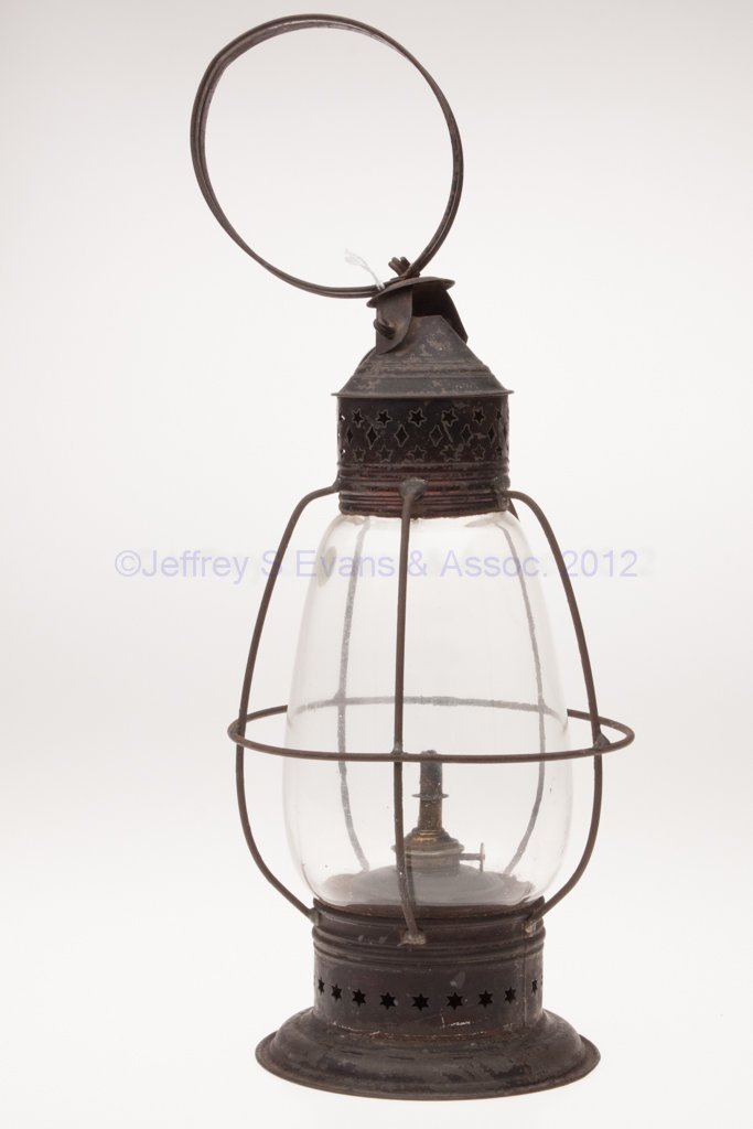 16: PIERCED SHEET IRON AND BLOWN MOLDED OIL LANTERN