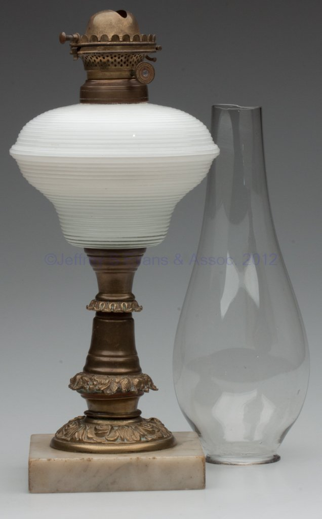 1019: CASED REEDED STAND LAMP