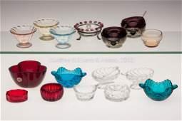 1659: ASSORTED ELEGANT GLASS OPEN SALTS, LOT OF 16