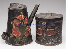 231: AMERICAN PAINT-DECORATED TOLE ARTICLES, LOT OF TWO