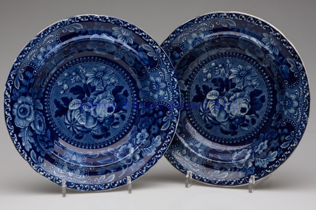 616: STAFFORDSHIRE TRANSFERWARE SOUP PLATES, LOT OF TWO