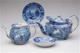 617 ASSORTED STAFFORDSHIRE TRANSFERWARE ARTICLES LOT