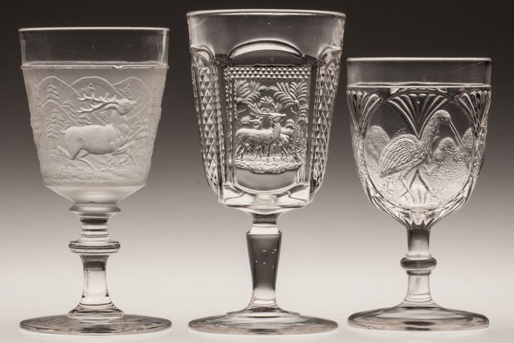 11: ANIMAL PATTERN EAPG GOBLETS, LOT OF THREE