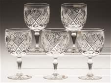 "361: HAWKES ""ST. REGIS"" BRILLIANT CUT GLASS SET OF FIVE"