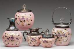 674: VICTORIAN DECORATED TABLE ARTICLES, FIVE-PIECE SET