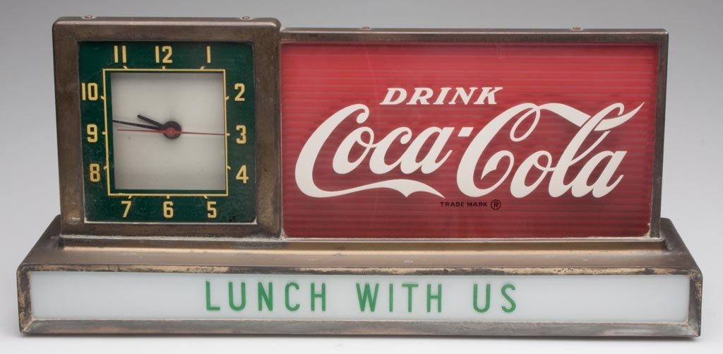 COCA-COLA LIGHT-UP COUNTER SIGN AND CLOCK