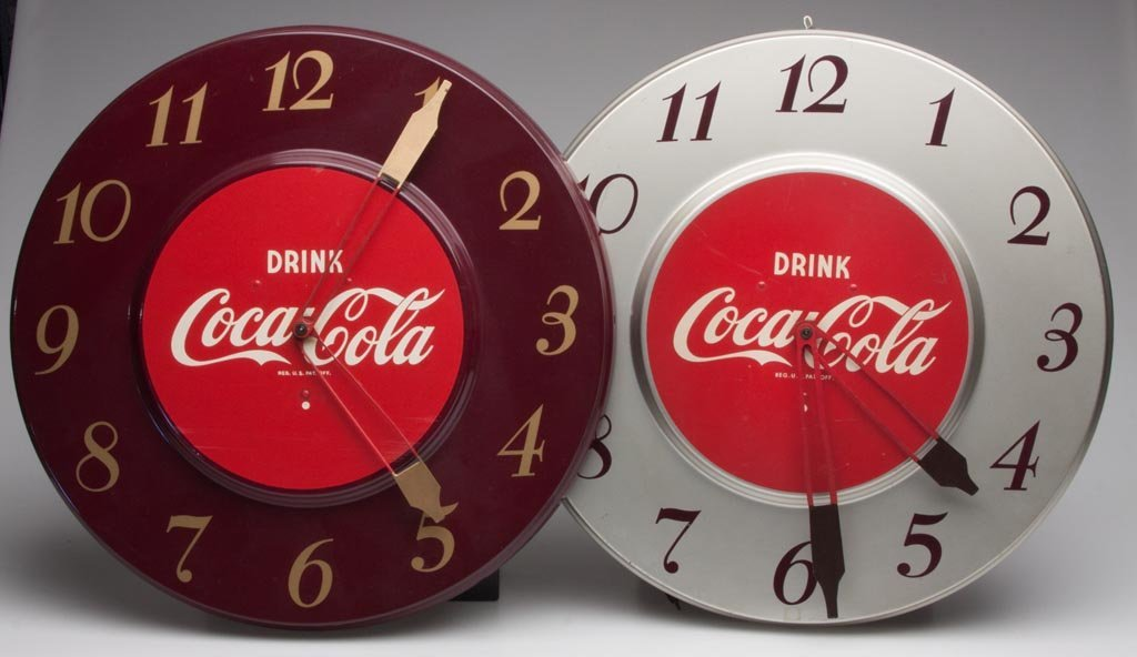 COCA-COLA ELECTRIC WALL CLOCKS, LOT OF TWO