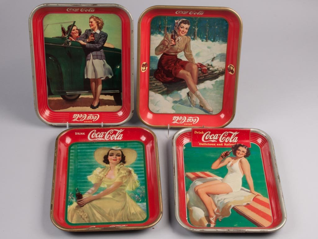 COCA-COLA TIN SERVING TRAYS, LOT OF FOUR