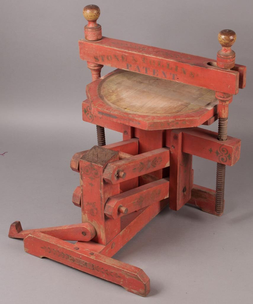 AMERICAN PAINT-DECORATED WOODEN CHEESE PRESS