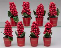 GERMAN HOLLY CHRISTMAS DECORATIONS, SET OF EIGHT