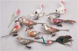 GERMAN GLASS BIRD CHRISTMAS ORNAMENTS LOT OF TEN
