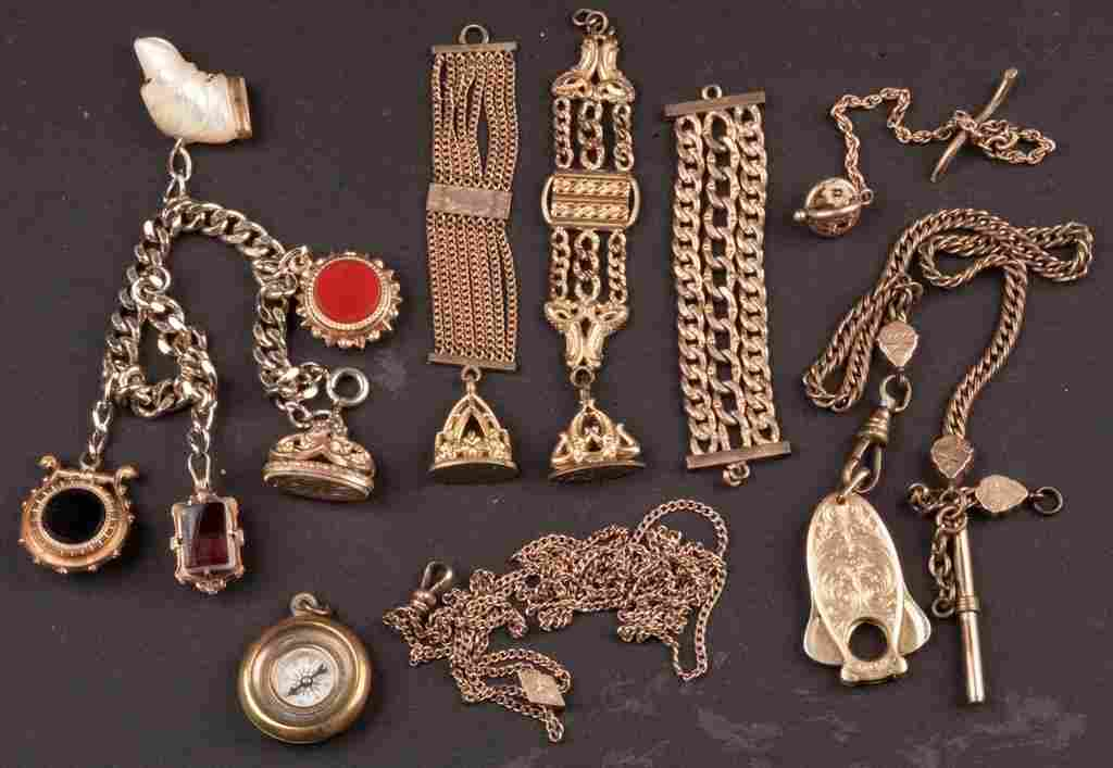 VICTORIAN GOLD-FILLED WATCH CHAINS AND FOBS, LOT OF NIN