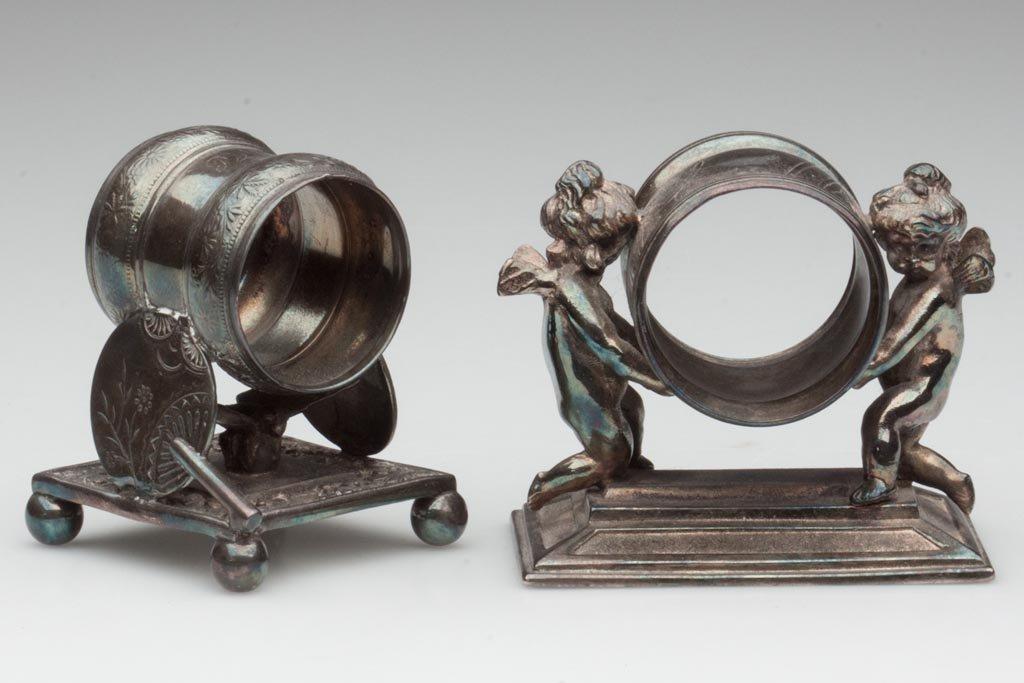 VICTORIAN QUADRUPLE-PLATE FIGURAL NAPKIN RINGS, LOT OF