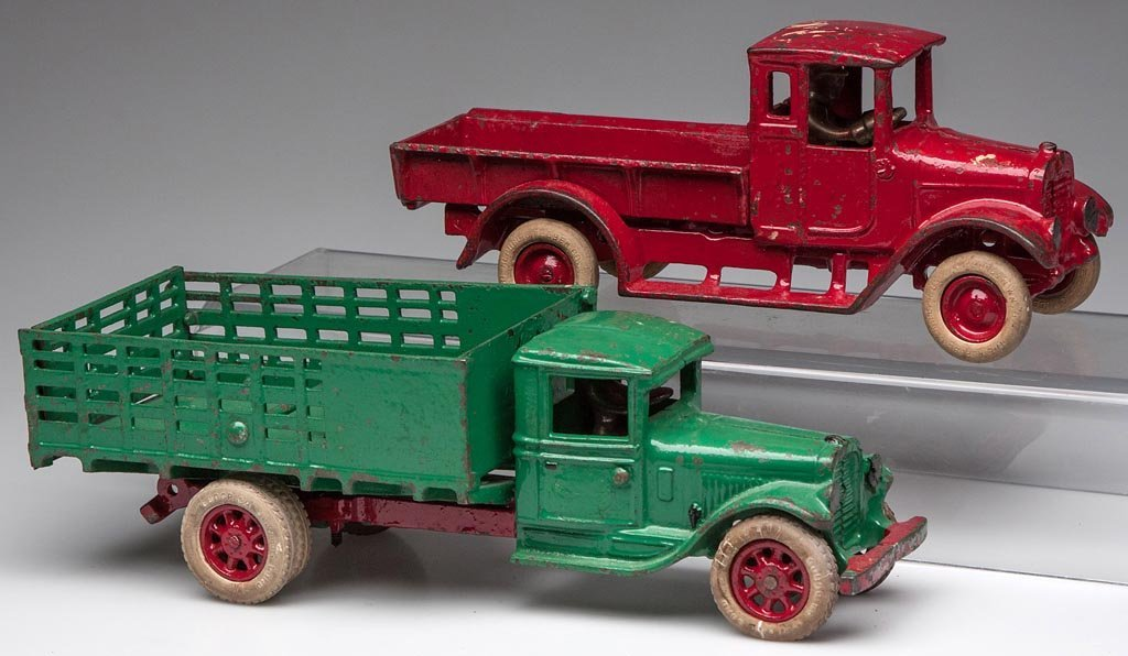 ARCADE CAST-IRON TOY TRUCKS, LOT OF TWO