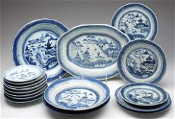 CHINESE EXPORT PORCELAIN CANTON ARTICLES, LOT OF 17