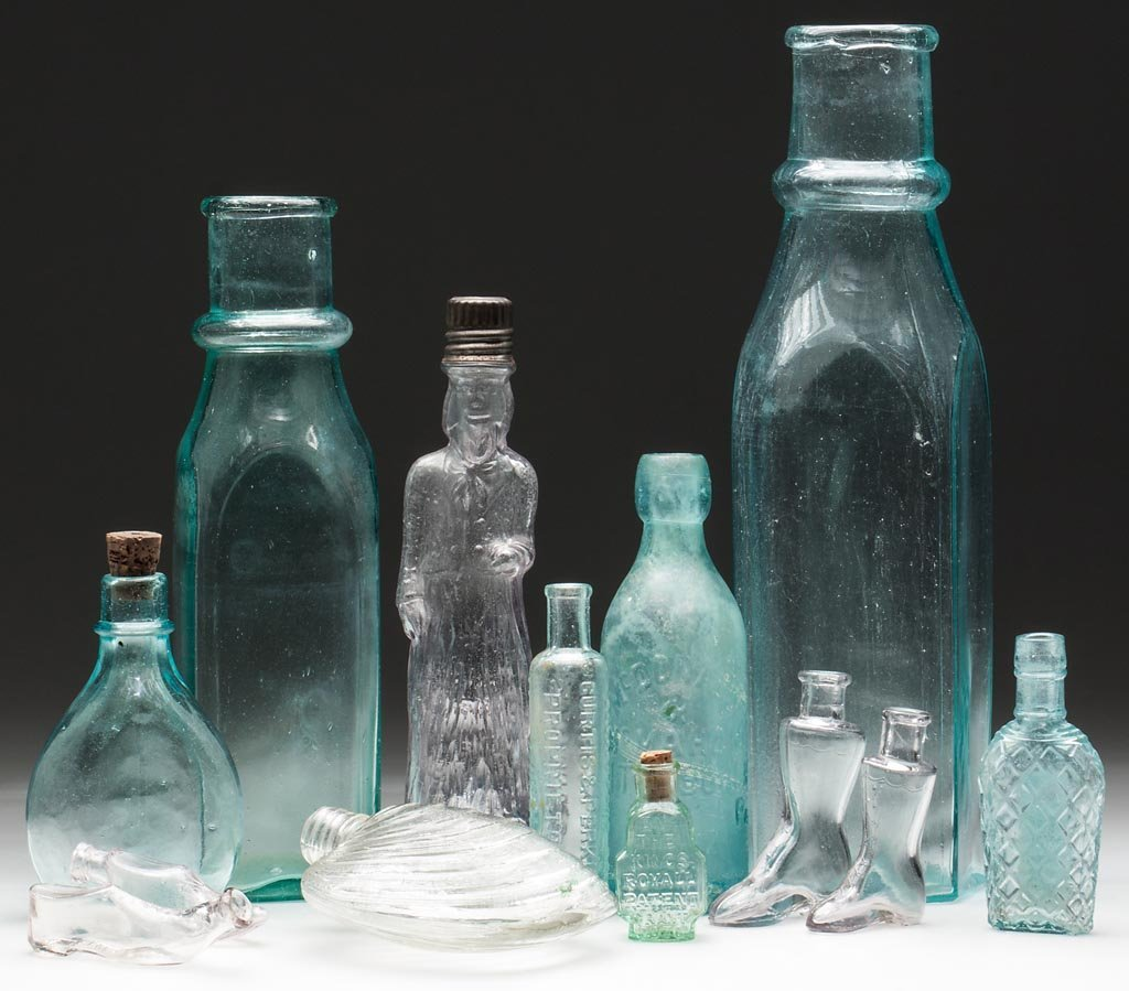 ASSORTED COMMERCIAL AND FIGURAL BOTTLES, LOT OF 13