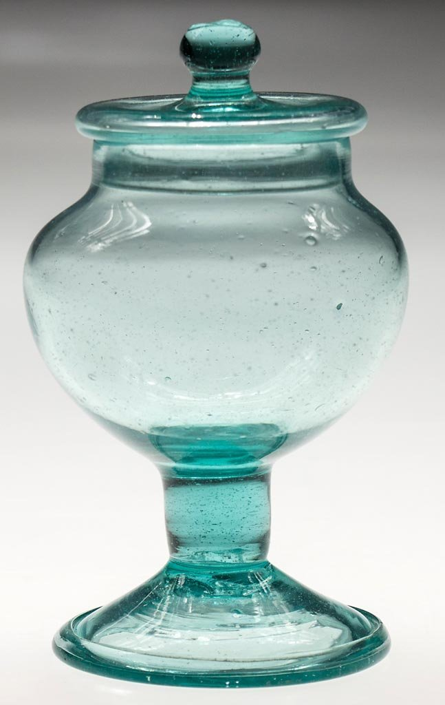 FREE-BLOWN FOOTED SUGAR BOWL AND COVER