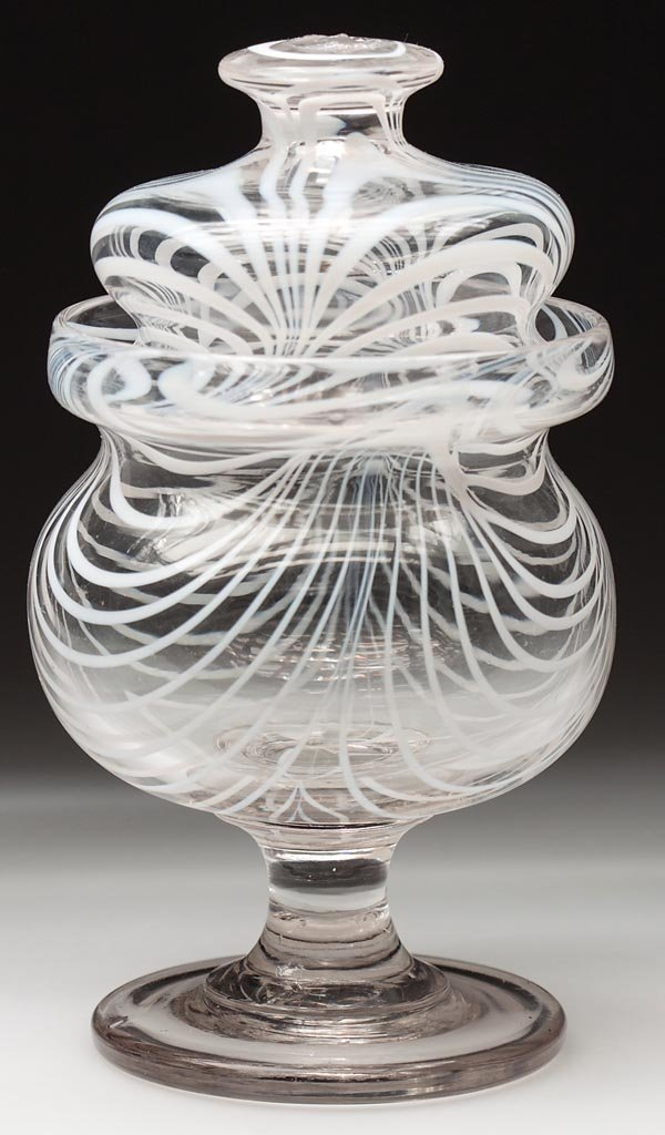 FREE-BLOWN MARBRIE-LOOP DECORATED FOOTED SUGAR BOWL AND