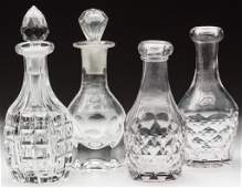 ASSORTED GLASS TOY DECANTERS, LOT OF FOUR