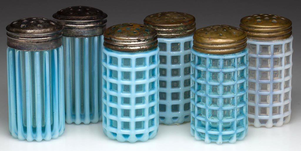 A. J. BEATTY AND SONS OPALESCENT SALT AND PEPPER SHAKER