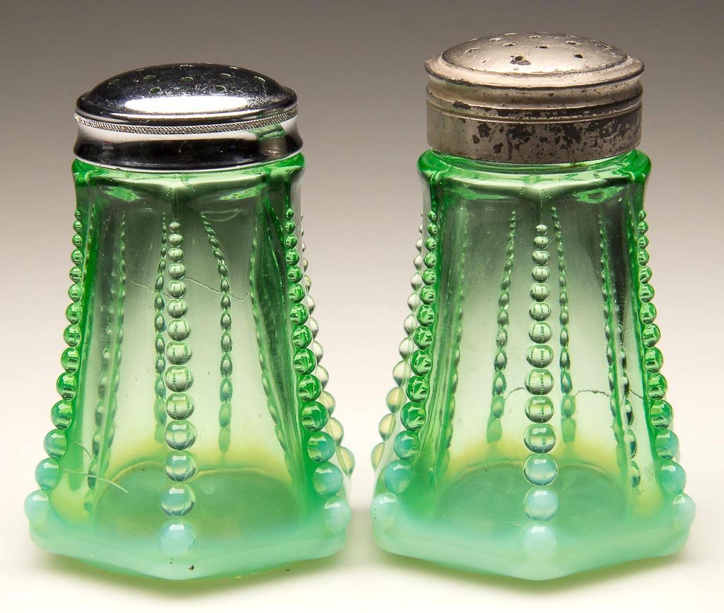 BEAD AND PANEL PAIR OF SALT AND PEPPER SHAKERS