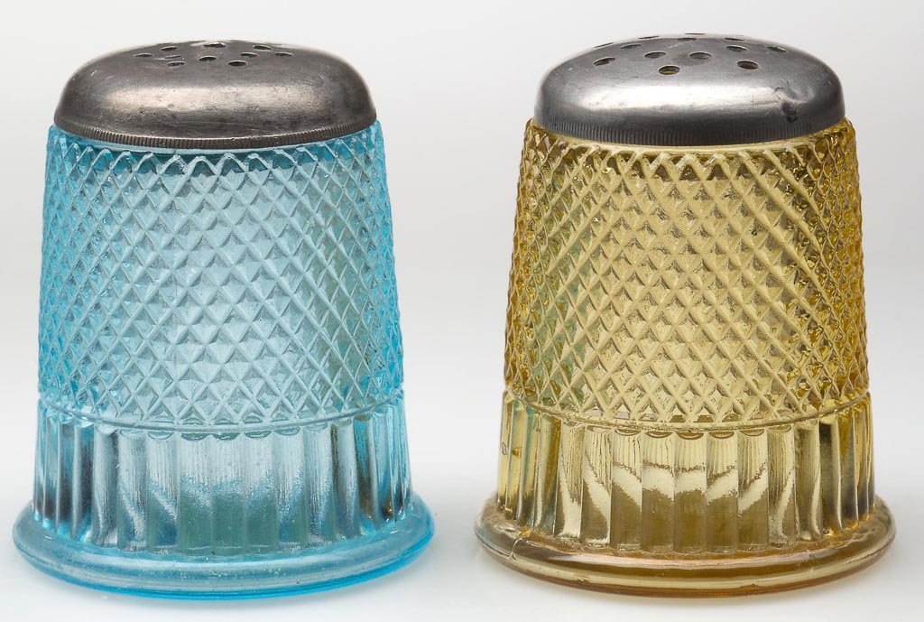 THIMBLE - RIBBED FIGURAL PAIR OF SALT AND PEPPER SHAKER