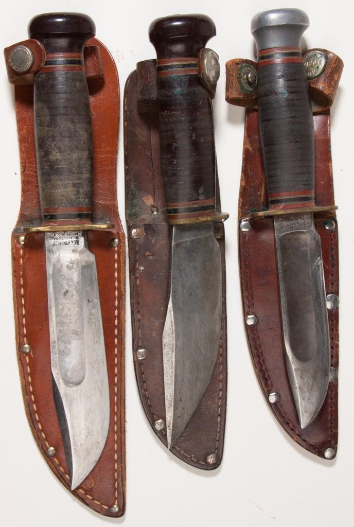 MARBLES HUNTING KNIVES, LOT OF THREE