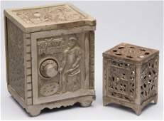 ASSORTED SAFE CASTIRON PENNY BANKS LOT OF TWO