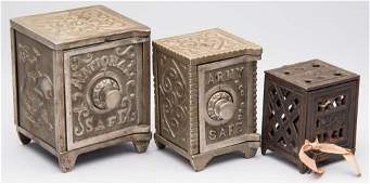 ASSORTED SAFE CASTIRON PENNY BANKS LOT OF THREE