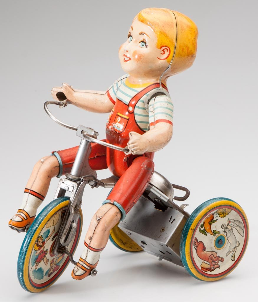 UNIQUE ART KIDDY CYCLIST TIN WIND-UP TOY