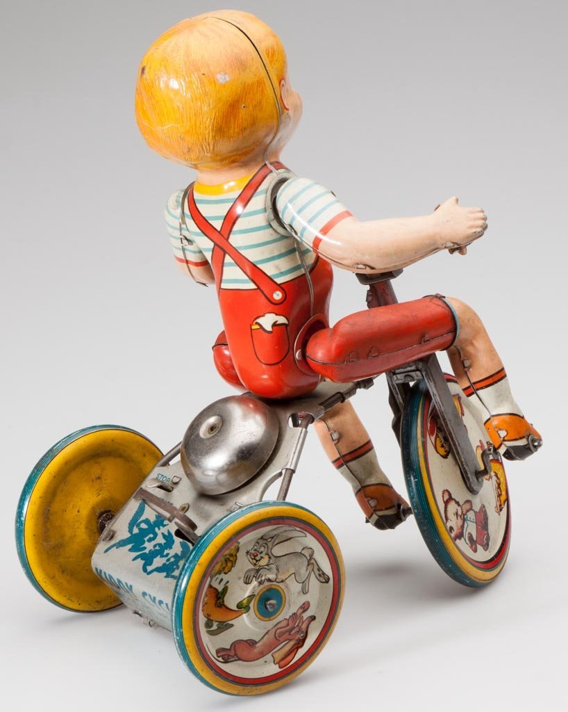 UNIQUE ART KIDDY CYCLIST TIN WIND-UP TOY - 2