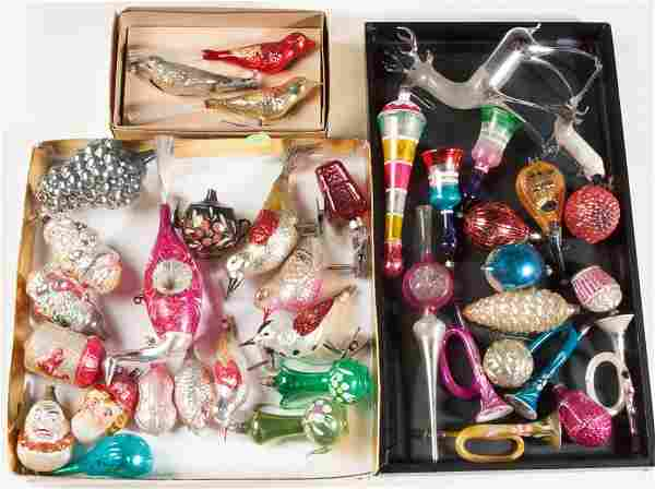 ASSORTED VINTAGE FIGURAL GLASS CHRISTMAS ORNAMENTS, LOT