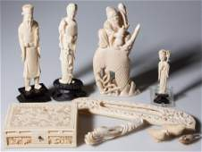 ASSORTED CHINESE CARVED IVORY / BONE ARTICLES, LOT OF T