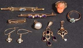 VICTORIAN AND LATER GOLD JEWELRY LOT OF TEN PIECES